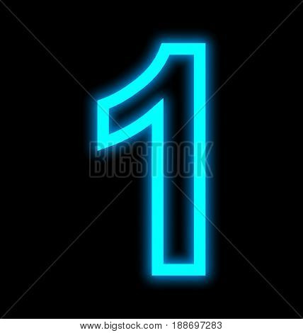 Number 1 Neon Lights Outlined Isolated On Black