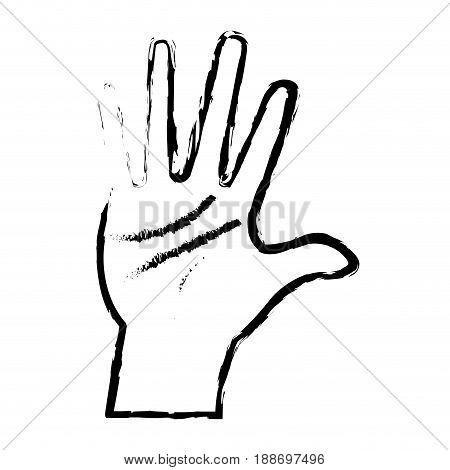hand man palm showing five finger vector illustration