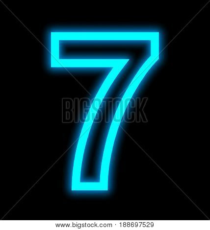 Number 7 Neon Lights Outlined Isolated On Black