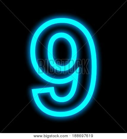 Number 9 Neon Lights Outlined Isolated On Black