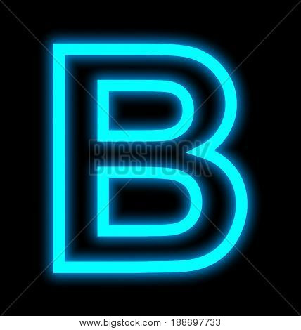 Letter B Neon Lights Outlined Isolated On Black