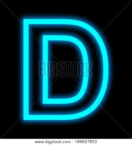 Letter D Neon Lights Outlined Isolated On Black