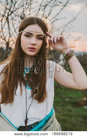 Hipster girl standing. portrait indie girl .
