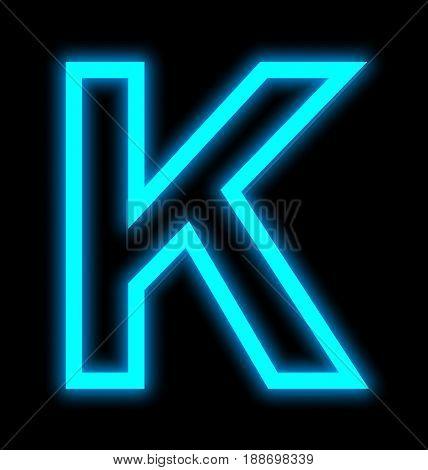 Letter K Neon Lights Outlined Isolated On Black