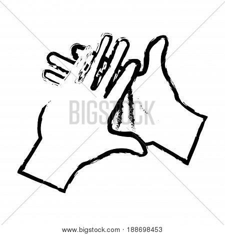 hand man clap gesture icon sketch vector illustration