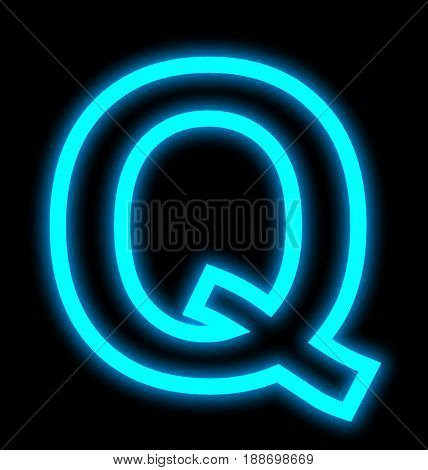 Letter Q Neon Lights Outlined Isolated On Black