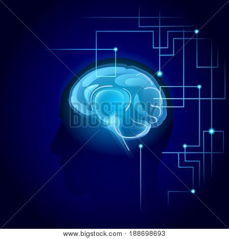 Brain Neurons Activity, Medicine Thinking Intelligence Concept Banner With Copy Space Flat Vector Illustration