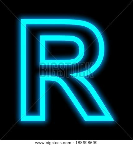 Letter R Neon Lights Outlined Isolated On Black
