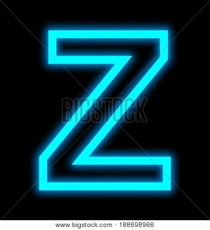 Letter Z Neon Lights Outlined Isolated On Black