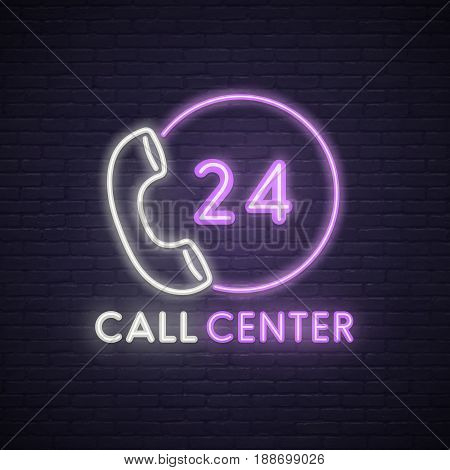 Call center neon sign. Neon sign, bright signboard, light banner.