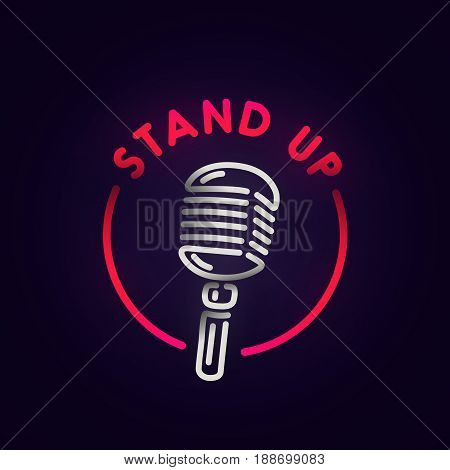 Stand Up neon sign, bright signboard, light banner. Burger logo, emblem.