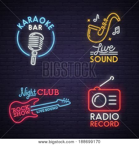 Sound neon sign. Karaoke neon sign. Rock Show neon sign. Radio neon sign, bright signboard, light banner. Logo, label, emblem.
