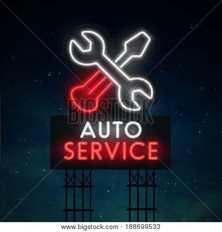 Auto service road sing. City sign neon. Logo, emblem. Service neon sign, bright signboard, light banner.