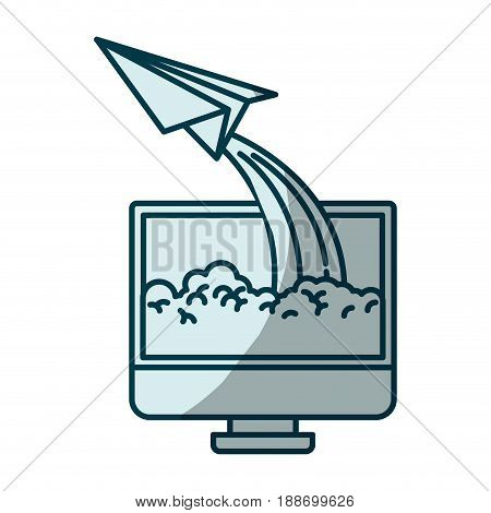 blue shading silhouette of lcd monitor and paper plane vector illustration
