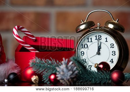Gift, Candy, Alarm Clock And Christmas Decorations
