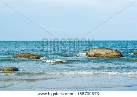 Seascape of Hua Hin Thailand.beautiful sea with rock and blue sky