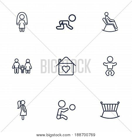 Set Of 9 Family Outline Icons Set.Collection Of Home, Skipping Rope, Boy And Other Elements.