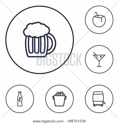 Set Of 6  Outline Icons Set.Collection Of Wine Cask, Soda, Cocktail And Other Elements.
