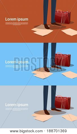 Business Man Legs With Paper Documents, Paperwork Concept Banner Set With Copy Space Flat Vector Illustration