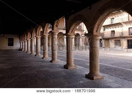Main square and town hall in Siguenza Guadalajara province Castilla-La Mancha Spain