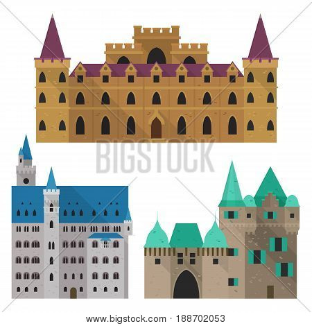 Set of isolated cartoon medieval castle front view. Royal architecture with wall and turrets, gothic palace and king residence, old fort construction. Building architecture, history book theme