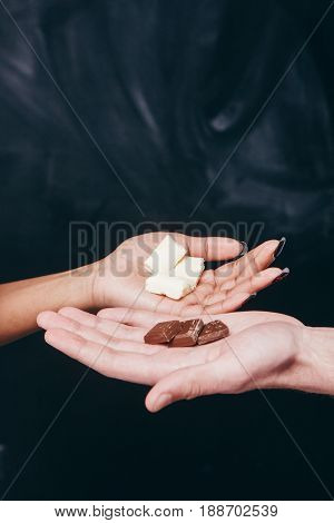 Chocolate White Black Hand Contrast Closeup Interracial Color Sweet Seduction Love Mix Temptation Concept