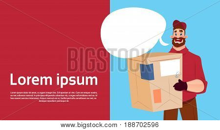 Courier Man Hold Box Delivery Package Post Service Banner Copy Space Flat Vector Illustration