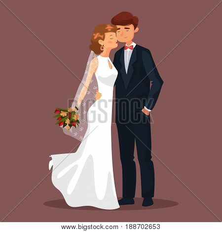 Wedding with husband and wife, married couple at celebration. Woman with veil and flower bouquet kissing or touching her man. Bridal ceremony, cartoon people, male or female in dress and earrings