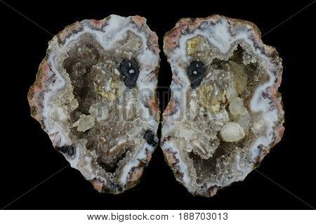 A cross section of the agate stone. Quartz geode with calcite crystals in agate. Origin: Asni Atlas Mountains Morocco.