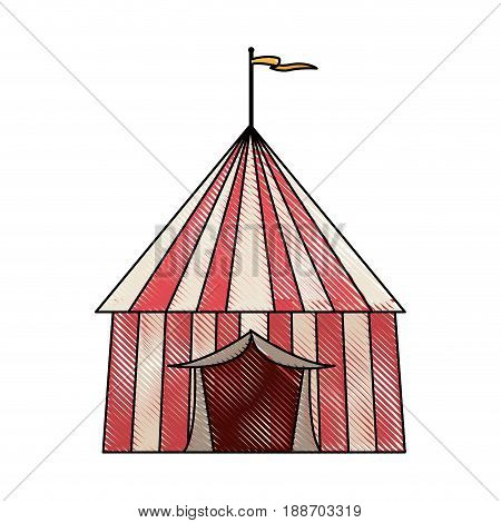 striped strolling circus marquee tent with flag vector illustration