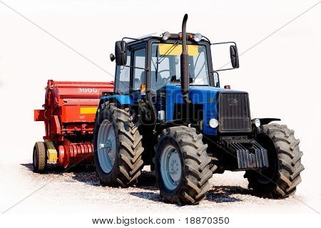 Tractor on a white background