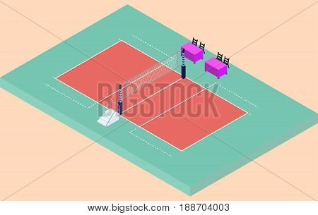 Isometric volleyball stadium with net sand and judges place in vector