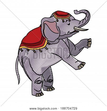 circus elephant as acrobat, animal standing trick, vector illustration