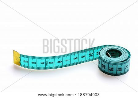 Tape For Measuring In Greenish Blue Color