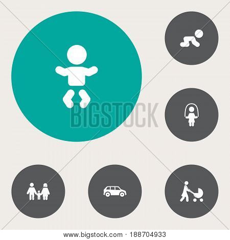 Set Of 6 People Icons Set.Collection Of Automobile, Perambulator, Kid And Other Elements.