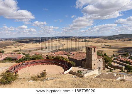 bullring and Santa Maria del Rey church Atienza Guadalajara province Castilla-La Mancha Spain