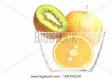 Bowl Full Of Fruit: Whole Apple, Orange And Kiwi Halves
