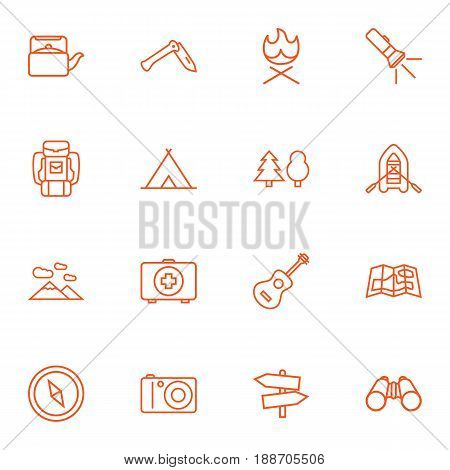 Set Of 16 Adventure Outline Icons Set.Collection Of Penknife, Guidepost, Gps And Other Elements.