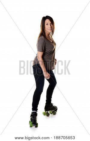 woman roller skating sideways on quad skates