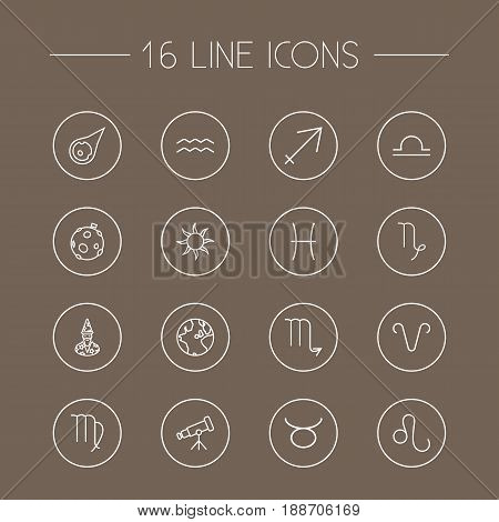 Set Of 16 Astronomy Outline Icons Set.Collection Of Scorpion, Leo, Aqurius And Other Elements.