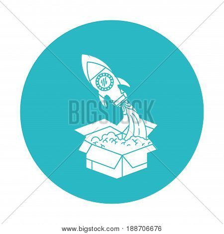 circle light blue with space rocket coming out of the box vector illustration