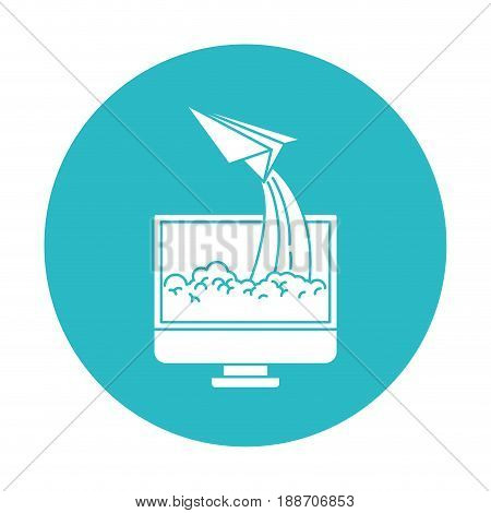 circle light blue with lcd monitor and paper plane vector illustration