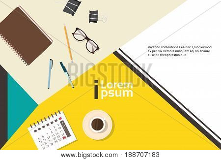 Business Workplace Desk Top Angle View Notebook Calendar Banner With Copy Space Flat Vector Illustration