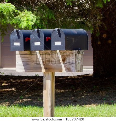 Three black mail boxes sit on a wooden pole in the sun.