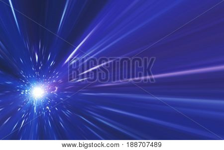 Abstract spacescape speed of light and lens flare