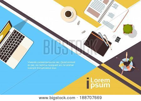 Business Workplace Desk Top Angle View Notebook Laptop Computer Banner With Copy Space Flat Vector Illustration