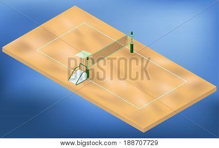 Isometric beach volleyball playground with net sand and judges place in vector