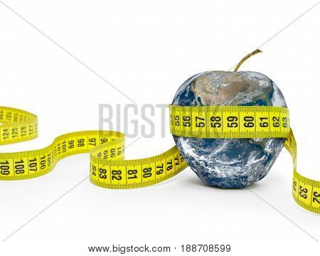Planet in shape of an apple Wrapped in Measuring tape. Elements of this image furnished by NASA (http://www.nasa.gov/)