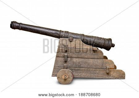 Ancient, Iron Cannon Isolated On White Background