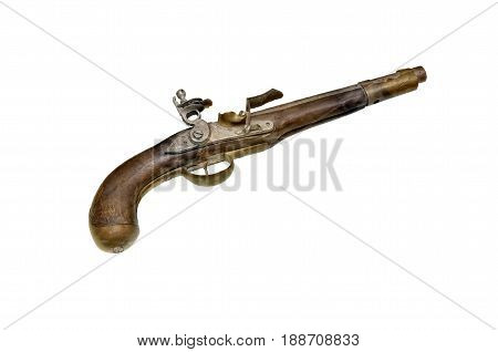 Ancient, Silicic Gun Isolated On White Background.